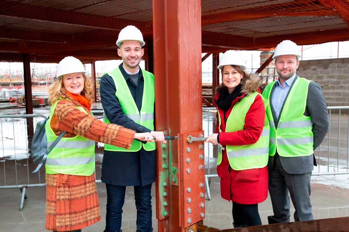 Topping Out Ceremony (LR) Coldharbour councillor Scarlett O'Hara; Cabinet Member for Planning, Investment and New Homes, Matthew Bennett; Dulwich & West Norwood MP Helen Hayes; and Lambeth Council leader Jack Hopkins