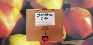 Cider box with apple background