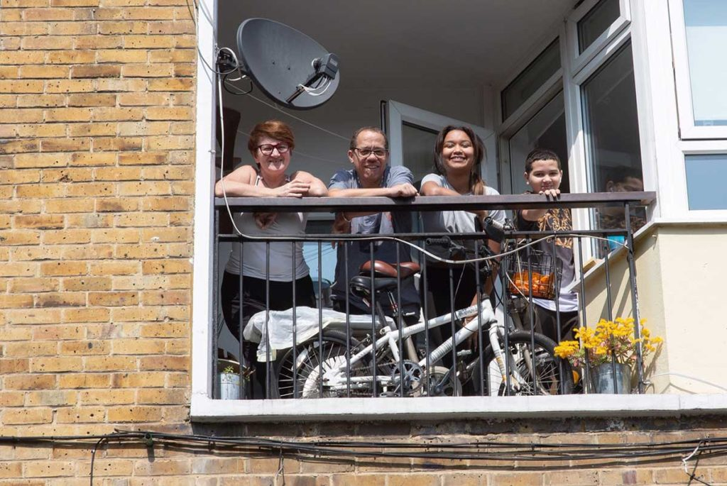 Residents at their balcony during lock down