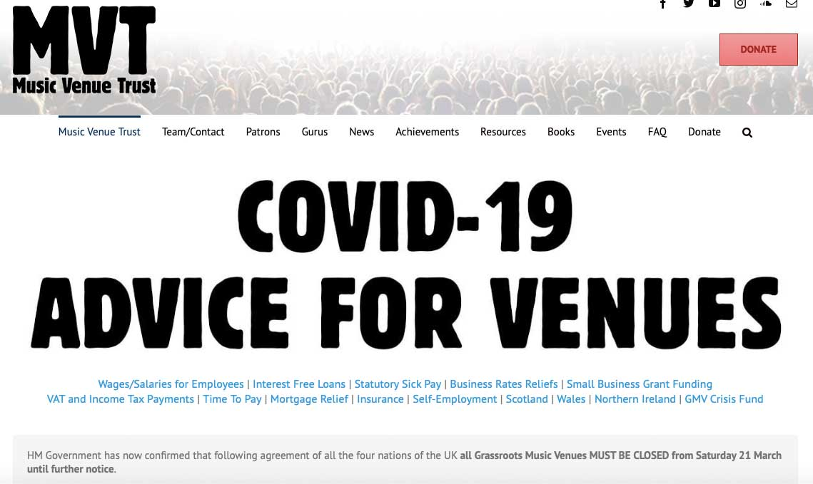Screenshot from Music Venue Trust covid advice