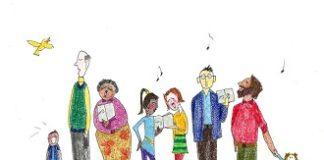 cartoon choir people