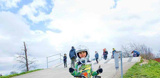 small boy with BMX bike