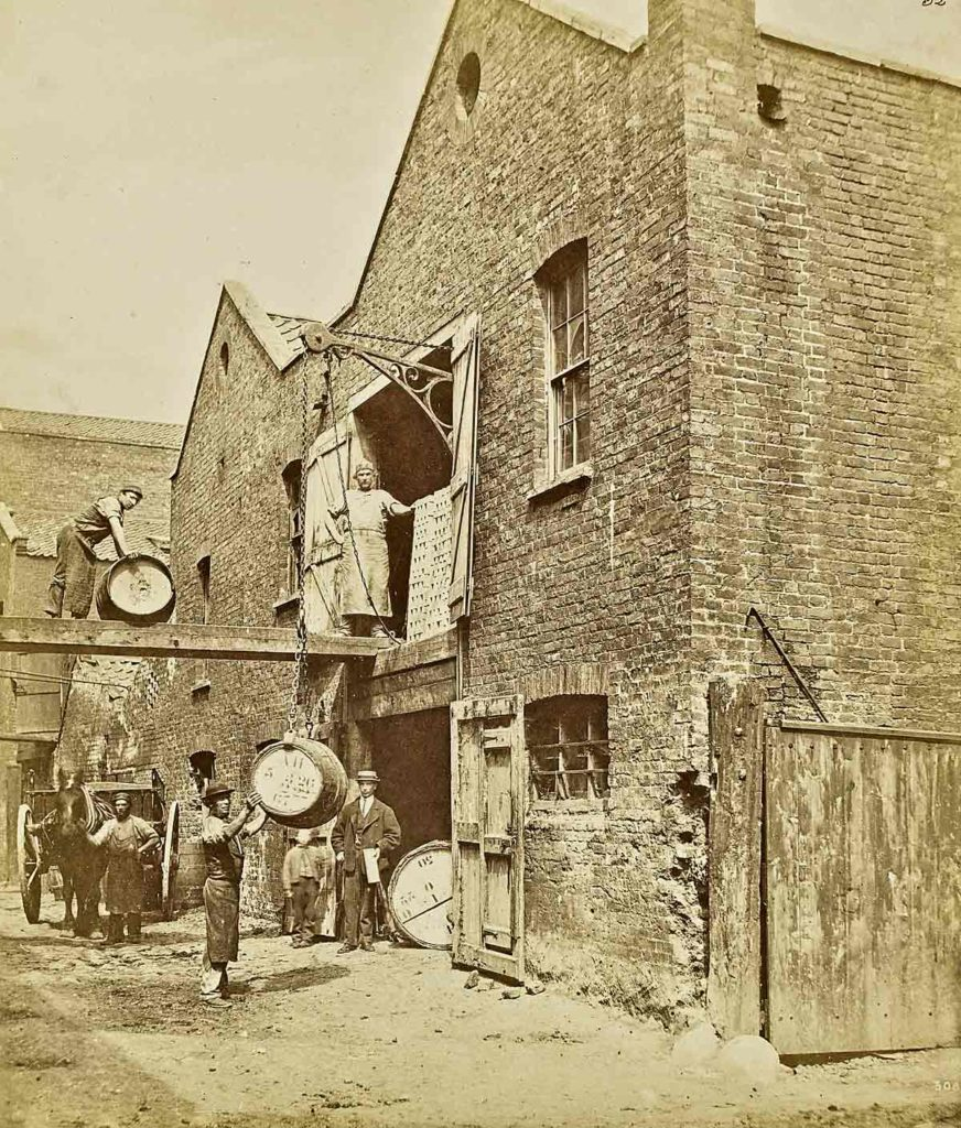 Workers at a soap warehouse in Lambeth's Fore Street, in 1868, by William Strudwick<br /> © Victoria and Albert Museum, London