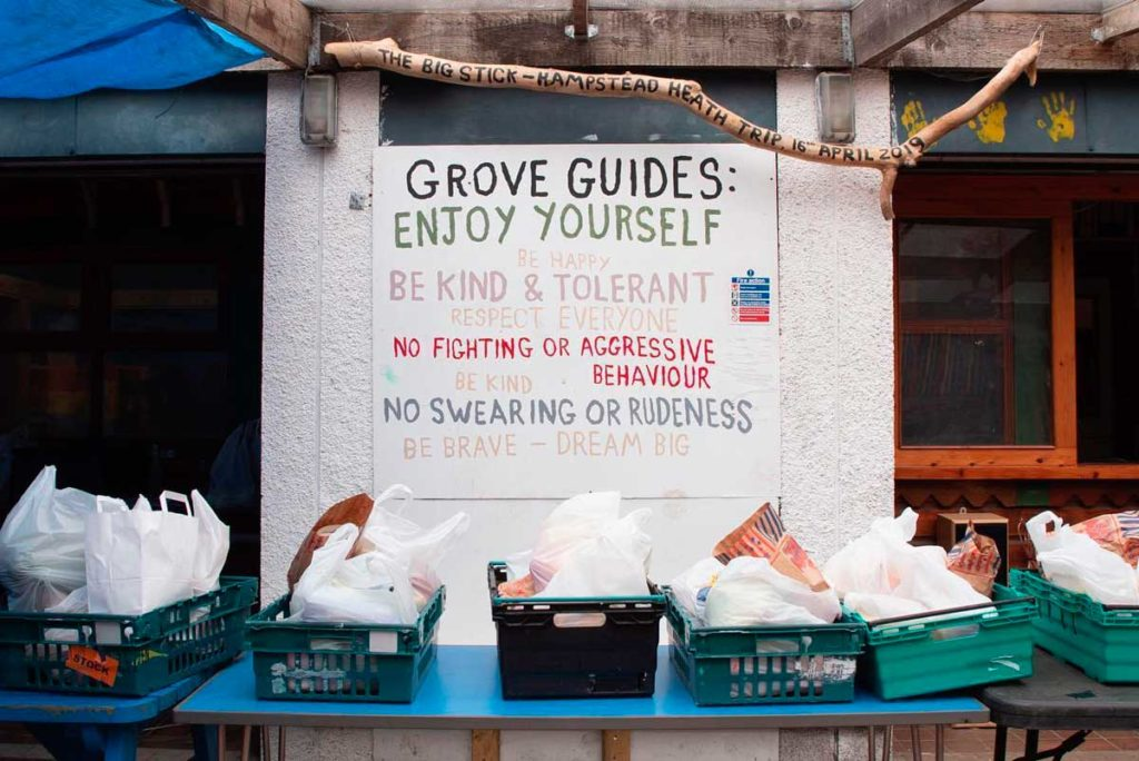 food parcels in front of messages