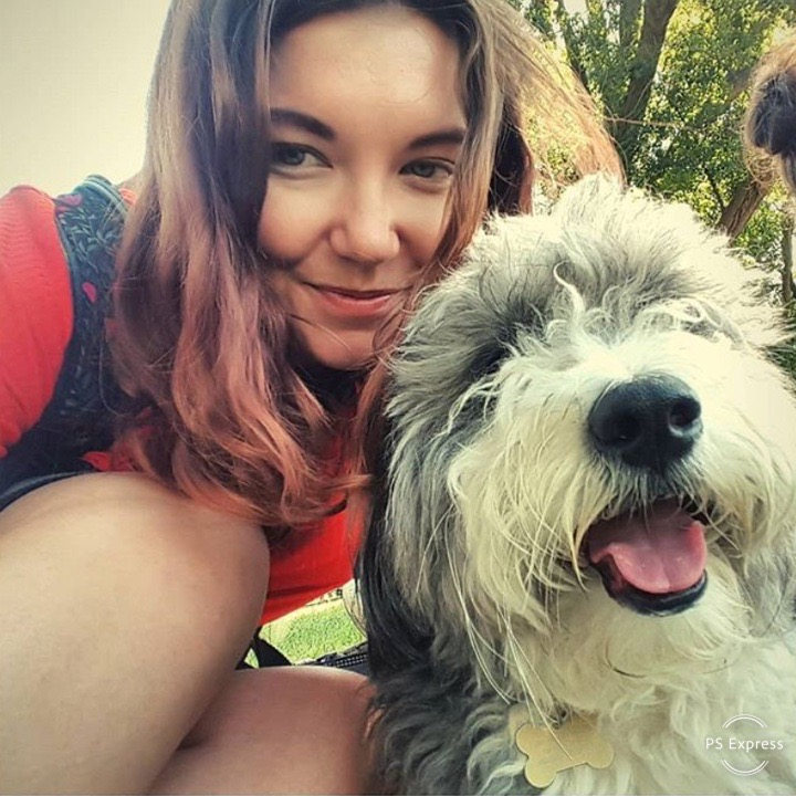 Paws for Pause charity. Woman with old English Sheepdog