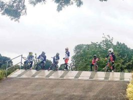 BMX riders at top of ramp