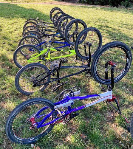 Upturned BMX bikes