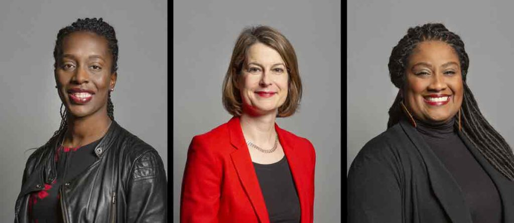 Brixton MPs (l-r) Florence Eshalomi, Helen Hayes and Bell Ribeiro Addy