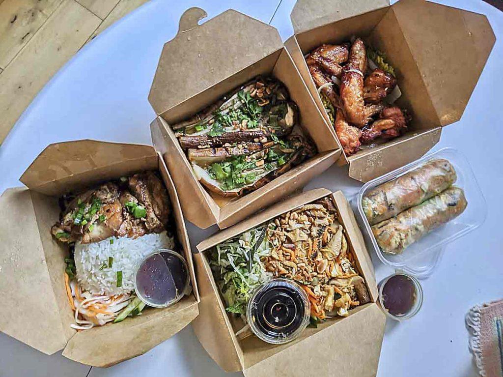 Vietnamese food in cardboard boxes
