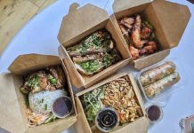 Vietnamese food in cardboard boxes