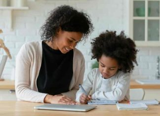Mother and child studying