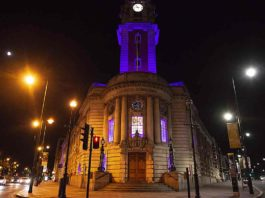 Lambeth town hall in Brixton lit in purple to mark the death of George Floyd