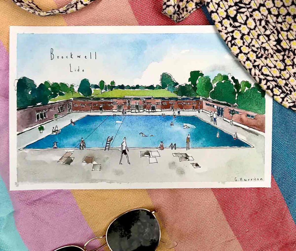 watercolour of swimming pool