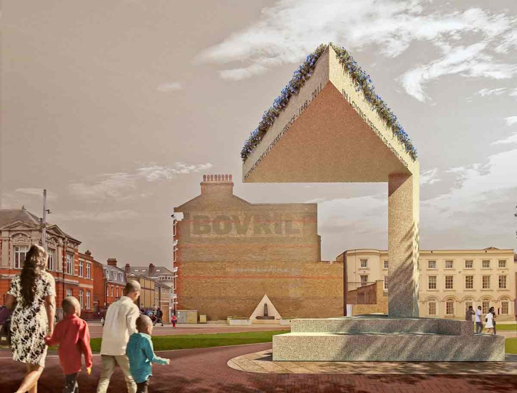 Computer-generated image of the memorial to Cherry Groce in Brixton's Windrush Square