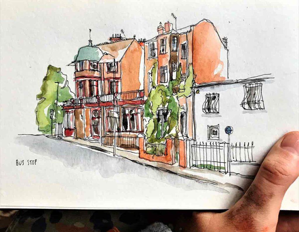 watercolour of pub