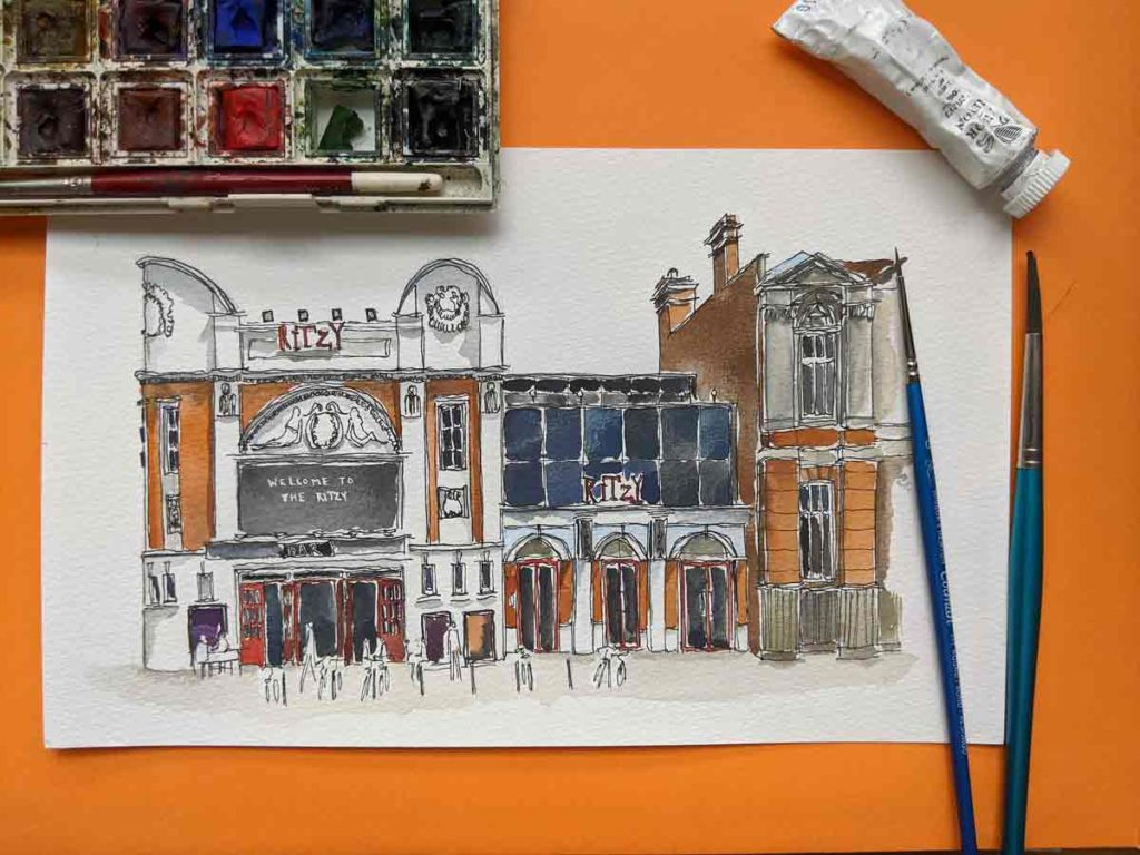 Watercolour of old cinema