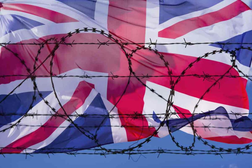 Union Jack with barbed wire
