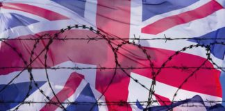 union. jack with barbed wire