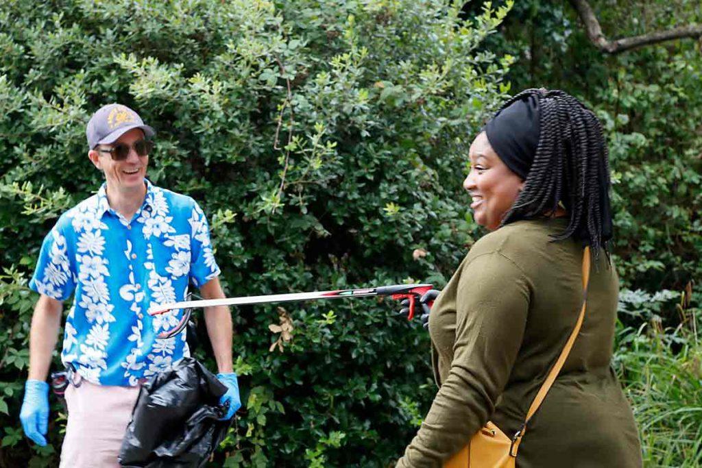 woman picking litter