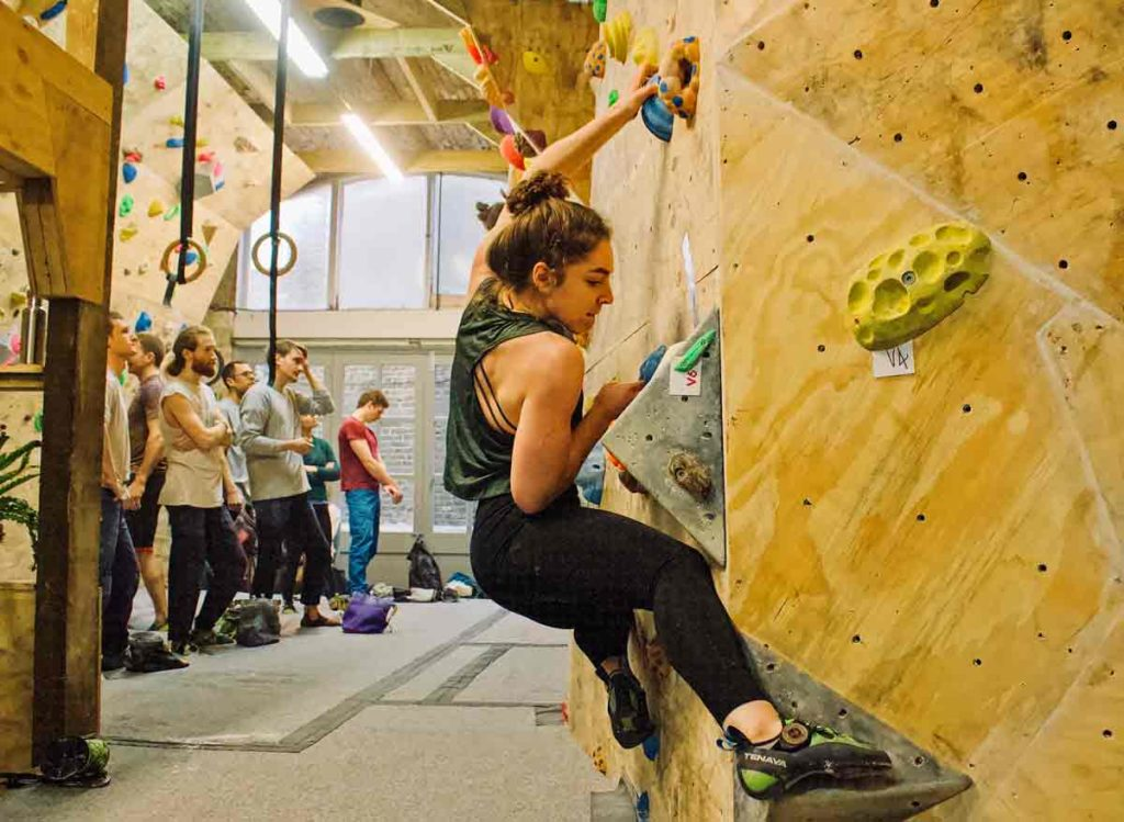 woman on indoor climbing wall