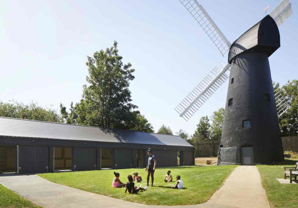 building and windmill