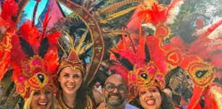 group in carnival costumes