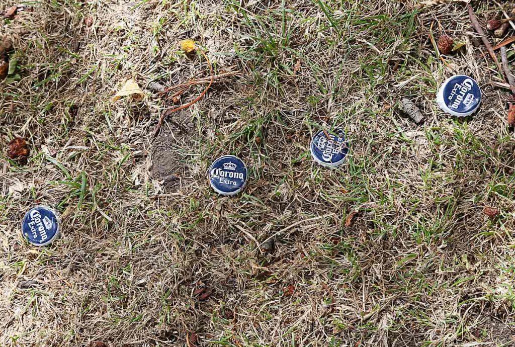 bottle tops on grass
