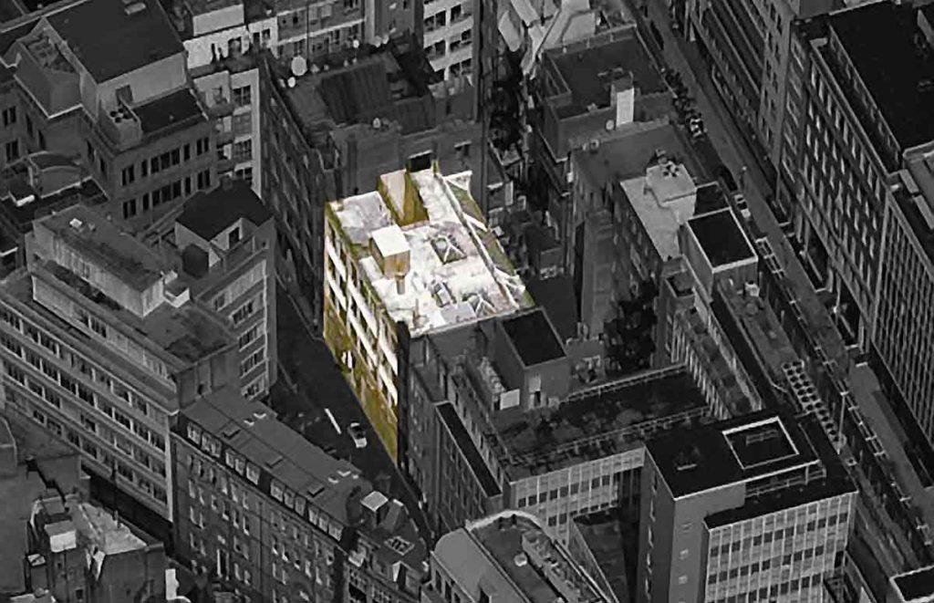 Aerial view of urban buildings