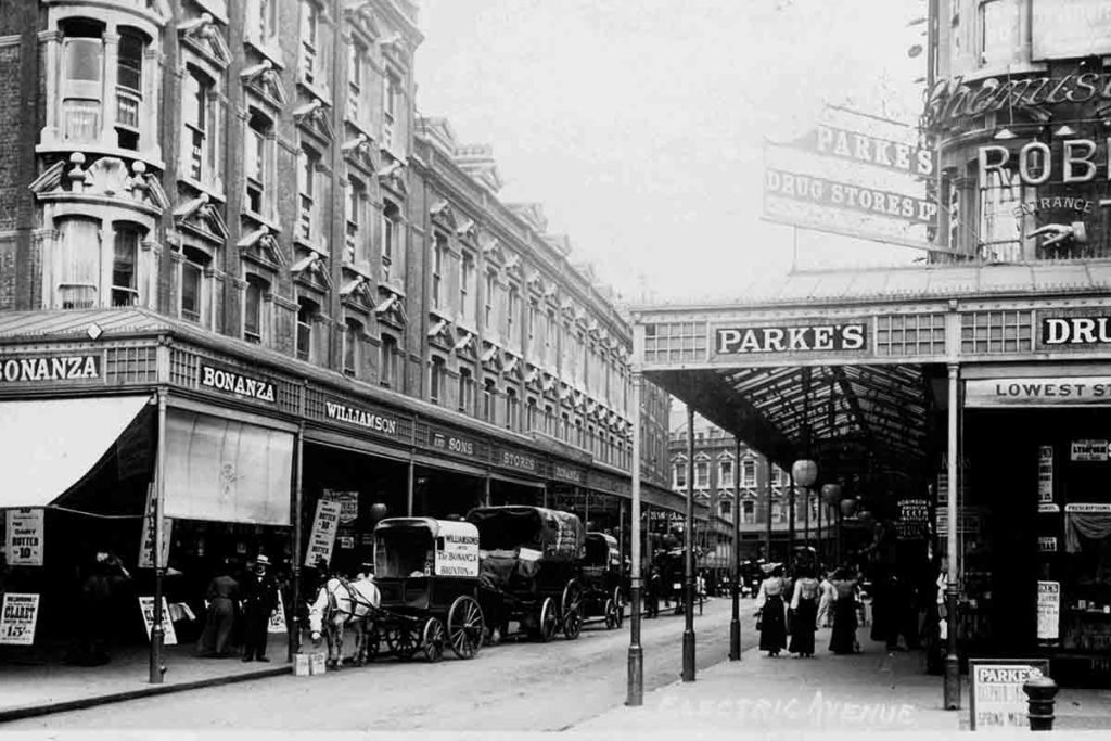 Electric Avenue around 1910, long before the market stalls moved in.