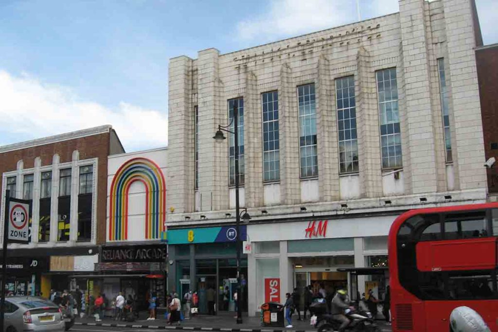 This part of the east side of Brixton Road was rebuilt between 1935 and 1939 to allow road widening.