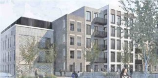 Artists rendering of new development as viewed from Landor Road from Proposal Document
