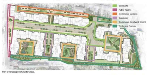 Map of development on Lambeth Hospital site showing communal gardensfrom Proposal Document