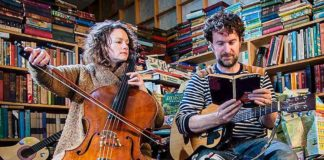 musicians in a bookshop