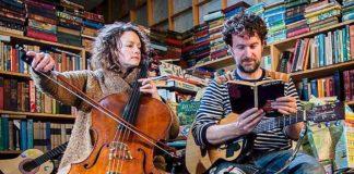 musicians in a bookshop