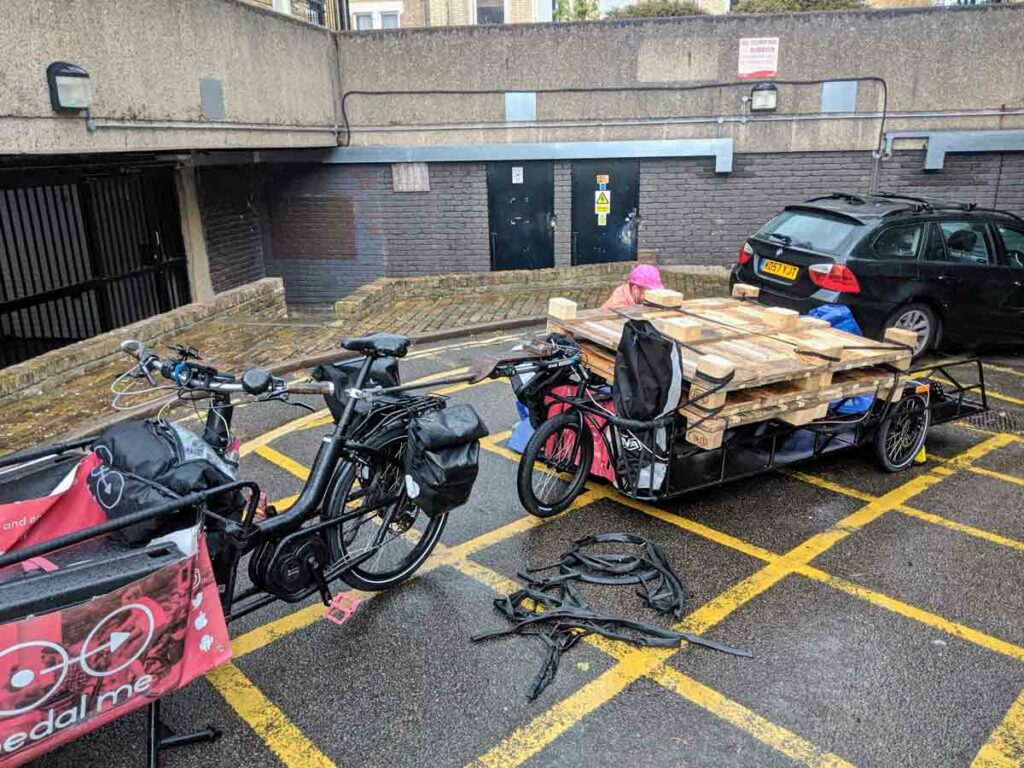 cargo bike with load of pallets
