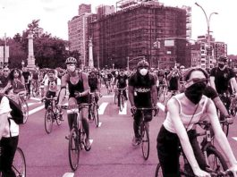 cyclists in Covid masks