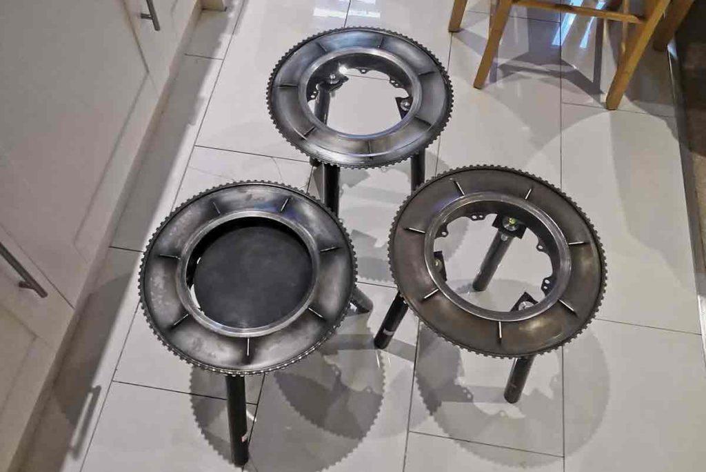circular metal tables