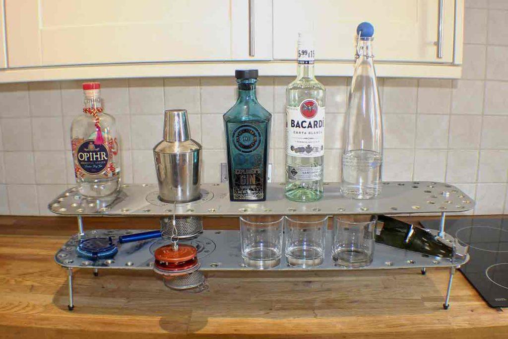 bottles on metal object
