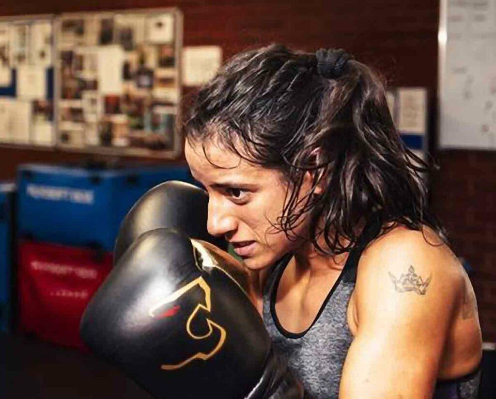 woman boxer close up