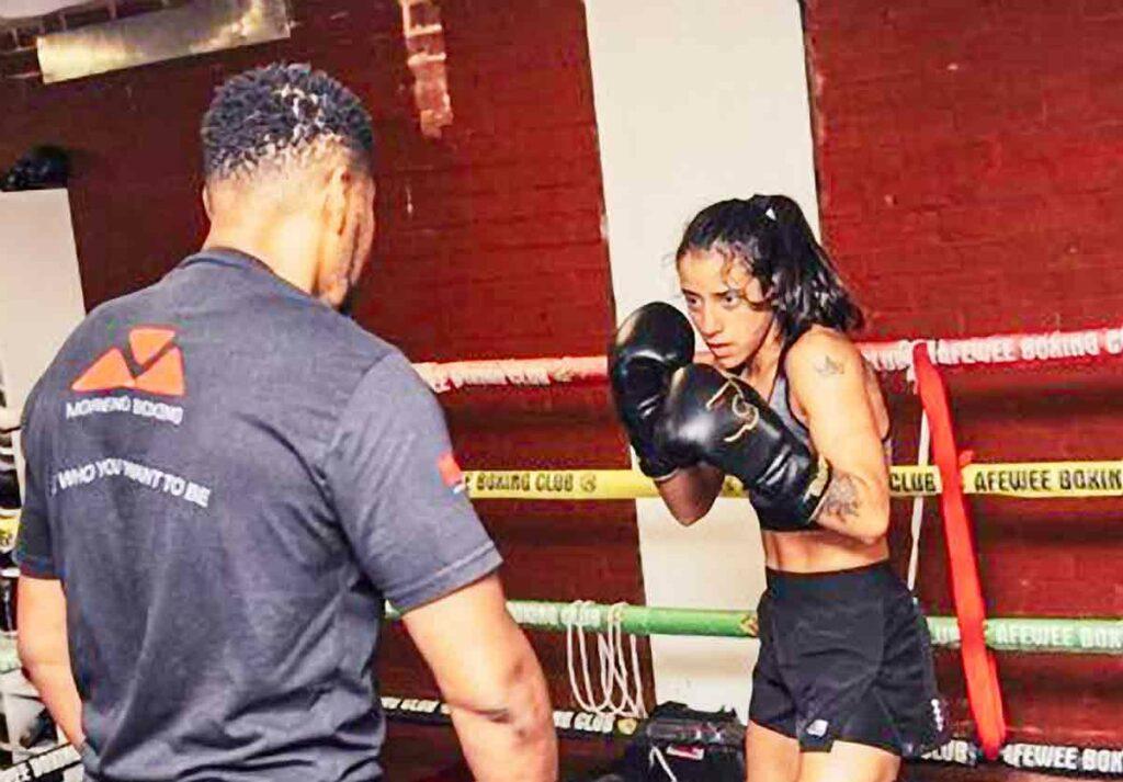 woman boxer training