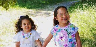 two small children walking