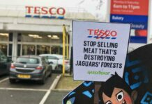 placard outside supermarket