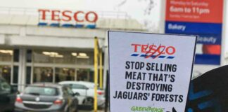 placard outside supermarket