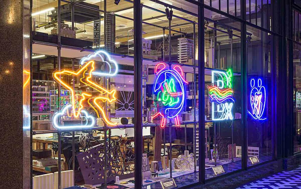 neon creations in window