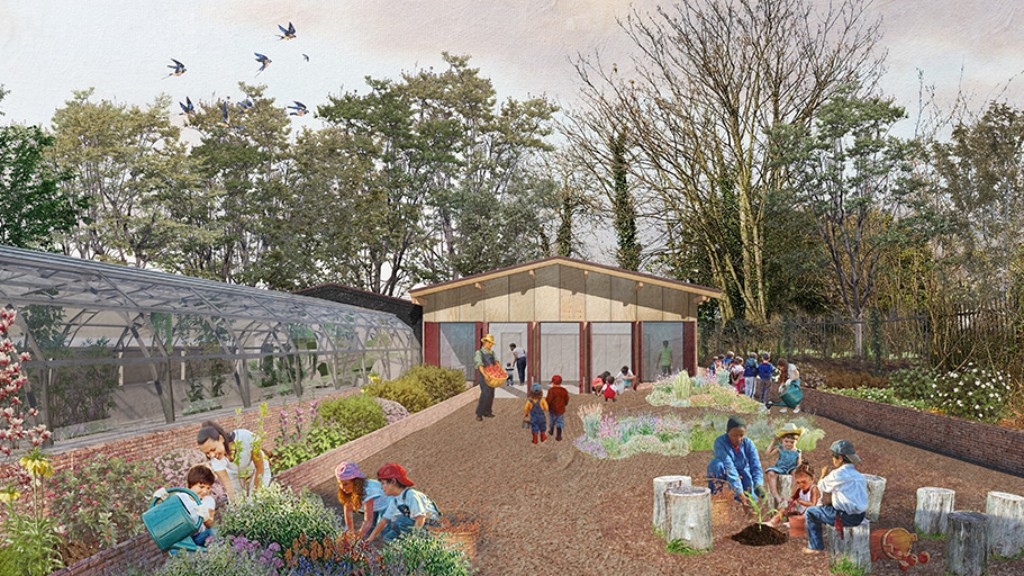 mock up of what the barn at brockwell park greenhouses will look like