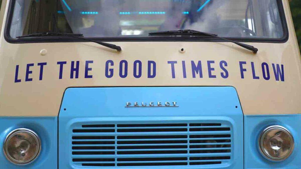 front of van with slogan