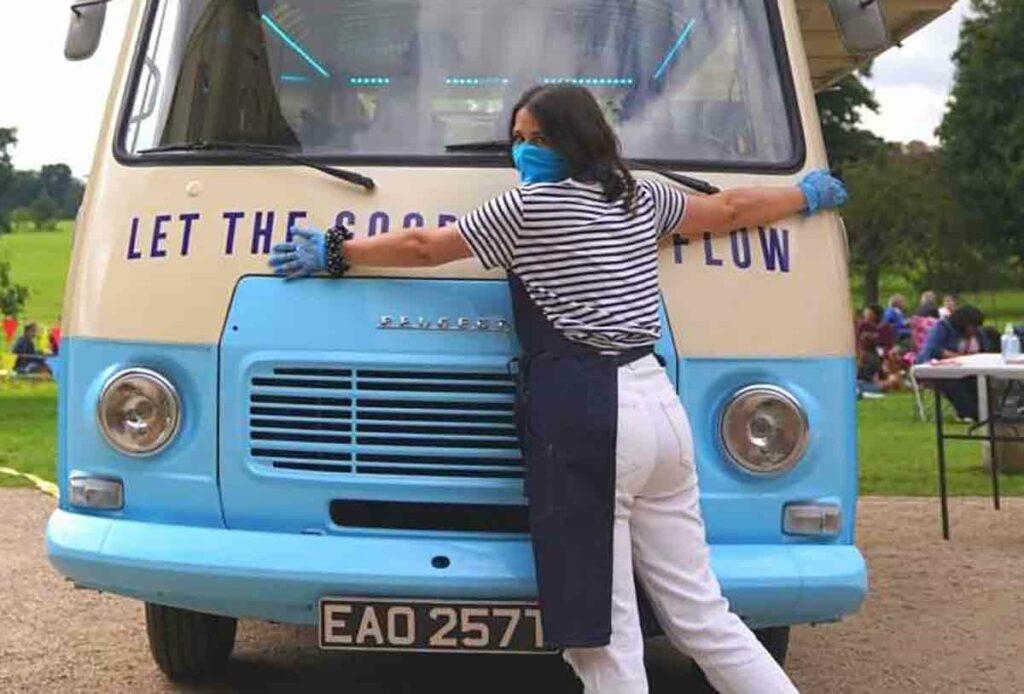 woman with van