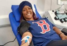 woman giving blood