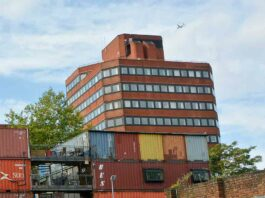 office block and container village