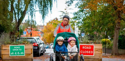 bicycle with kids in low traffic neighbourhood